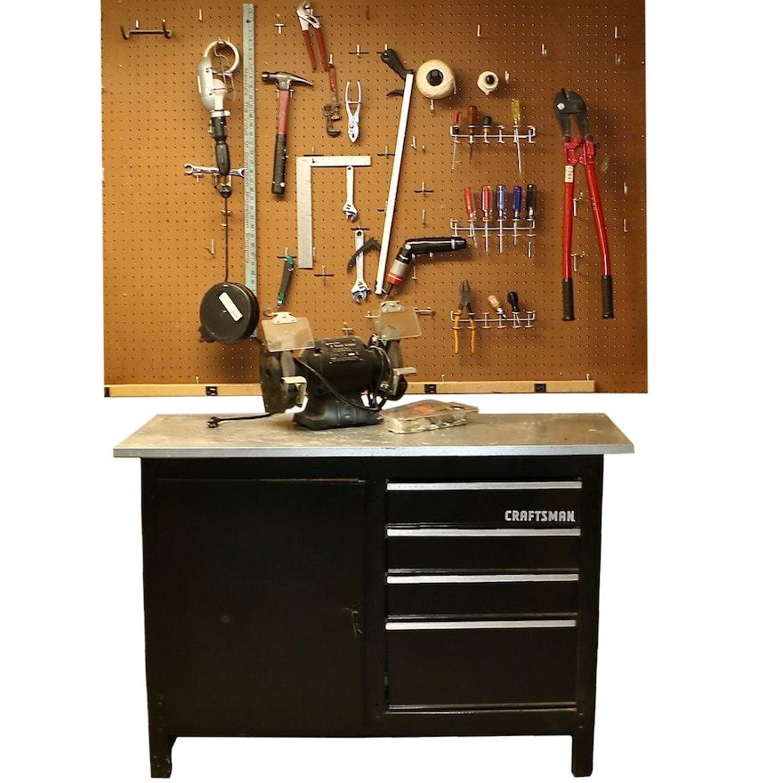 Sears Craftsman Storage Work Bench, Black & Decker Bench Grinder and Hand Tools