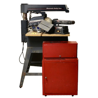 """Sears Craftsman 10"""" Electric Radial Saw, Sander, Storage and Woodworking Tools"""