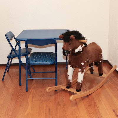 """National Wildlife Federation """"Mustang Rocking Pony"""" and Child's Cosco Table Set"""