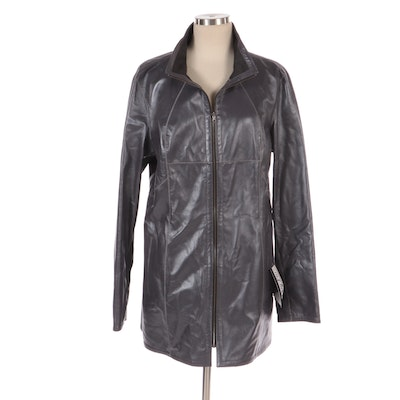 Vericci Grey Leather Zipper-Front Jacket, New with Merchant Tags
