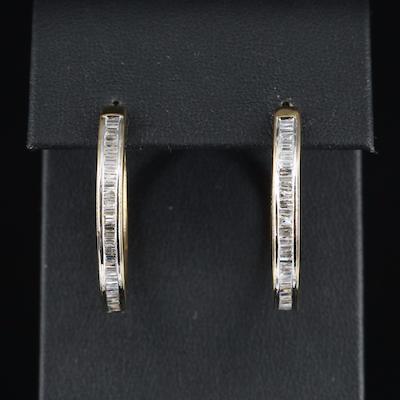 Sterling 1.04 CTW Diamond Channel Hoop Earrings