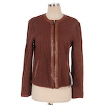 Vericci Brown Perforated Lambskin Leather Zip Jacket, New with Merchant Tags