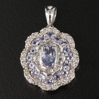 Sterling Silver  Tanzanite and Diamond Pendant with Scalloped Details