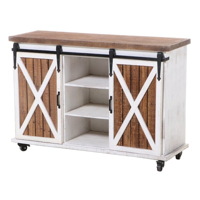 Farmhouse Style Parcel-Painted Console with Sliding Doors
