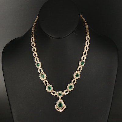18K Emerald and 7.99 CTW Diamond Necklace with 1.87 CT Center Stone