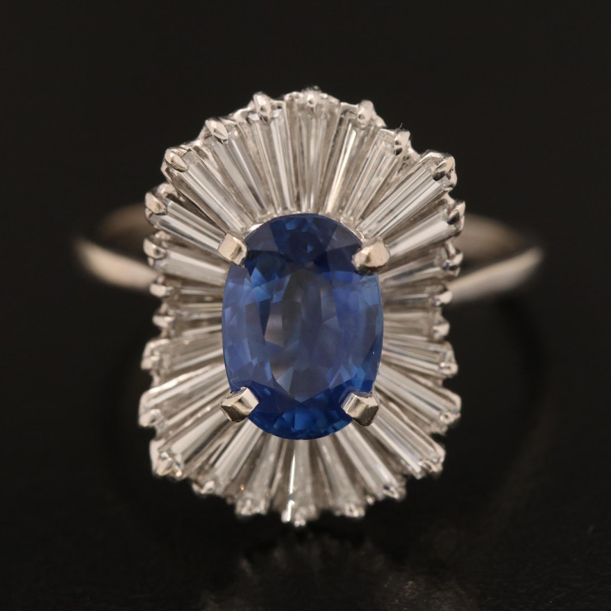 18K 2.48 CT Sapphire and 1.22 CTW Diamond Ballerina Ring