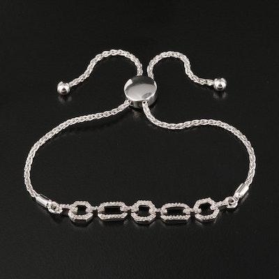 Sterling Silver Diamond Fancy Link Bolo Bracelet
