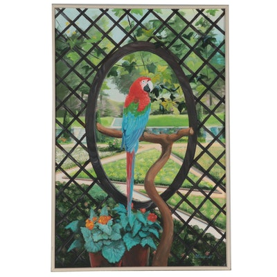 """Dorothea S. Wendlandt Acrylic Painting """"The Arbor Parrot,"""" Late 20th Century"""