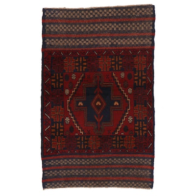 2'11 x 4'8 Hand-Knotted Afghan Baluch Accent Rug