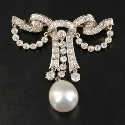 Edwardian 18K 2.14 CTW  Diamond and Pearl Drop Bow Brooch with Platinum Top