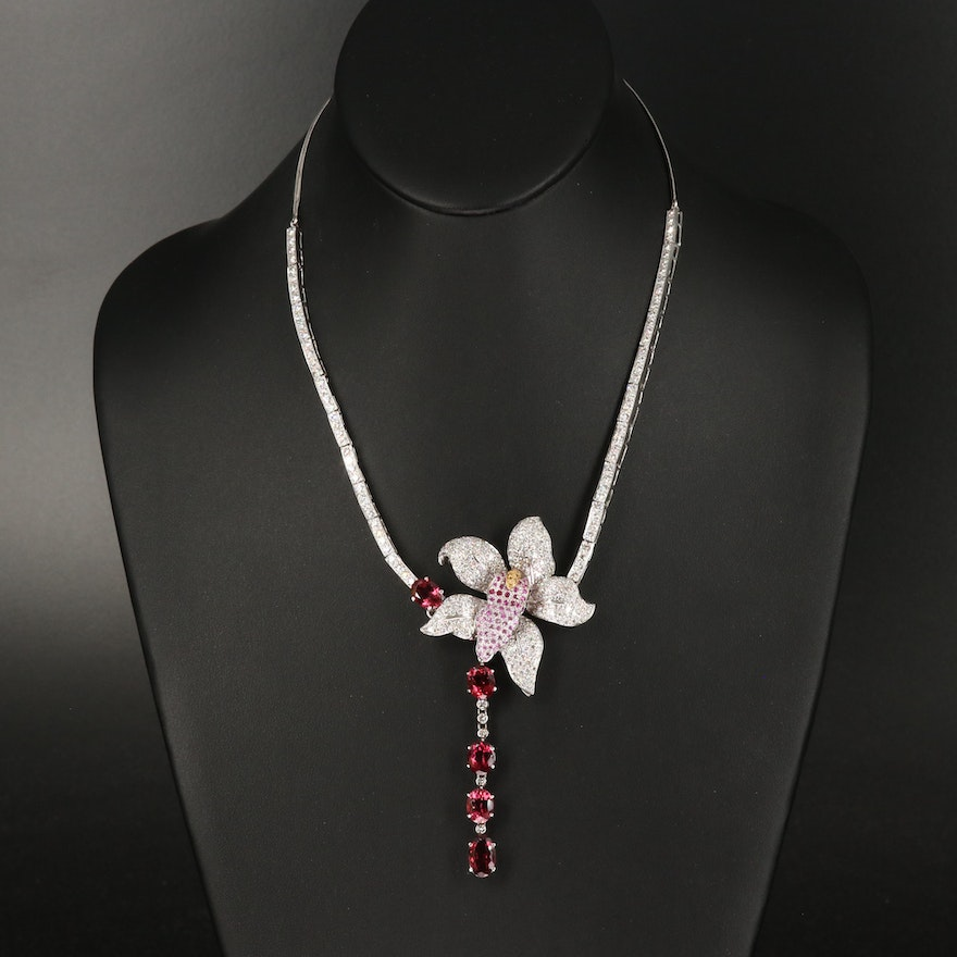 18K 7.50 CTW Diamond, Rubellite, Sapphire and Ruby Orchid Necklace