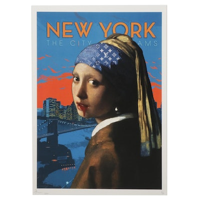 """Death NYC Pop Art Graphic Print Homage to """"The Girl With the Pearl Earring"""""""