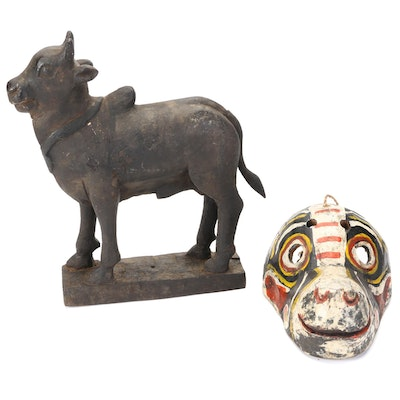 Southeast Asian Style Hand-Carved Wood Bull Sculpture and Polychrome Mask