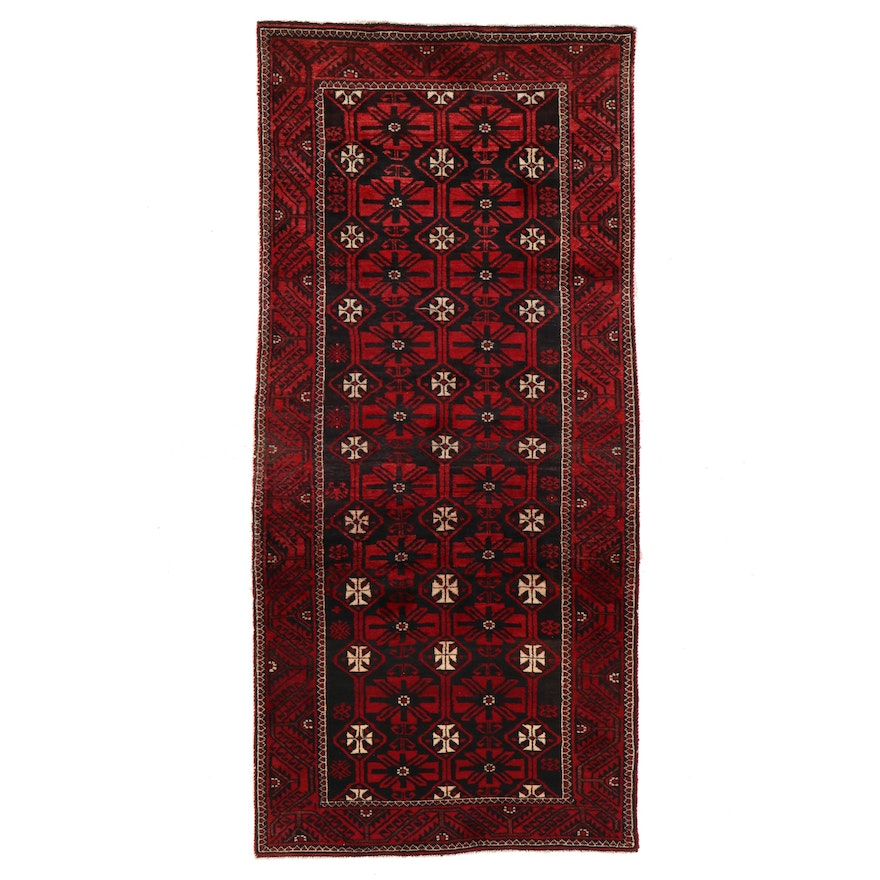 3'7 x 8' Hand-Knotted Afghan Baluch Area Rug