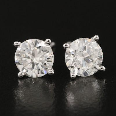 18K 1.61 CTW Diamond Stud Earrings with GIA eReports