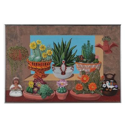 Dorothea S. Wendlandt Acrylic Painting of Succulents in Pots, Circa 2000