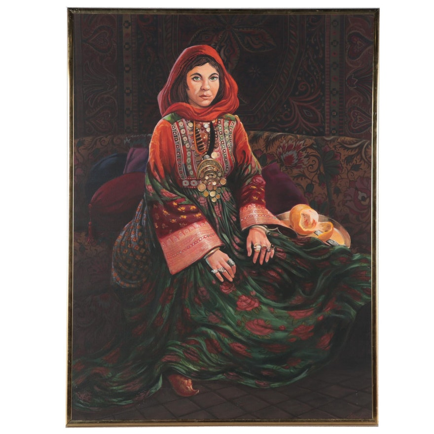 Dorothea S. Wendlandt Oil Painting of a Young Woman, Late 20th Century