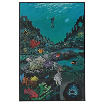 Dorothea S. Wendlandt Oil Painting of Scuba Diver in Coral Reef, Circa 2000