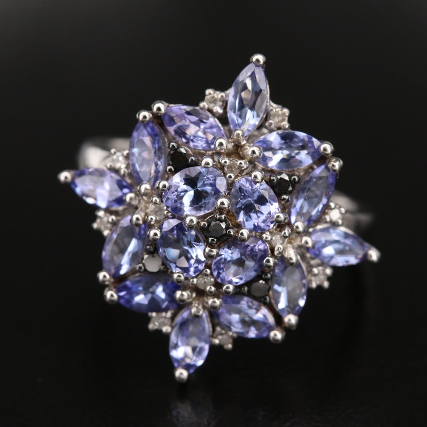 Sterling Tanzanite and Diamond Floral Cluster Ring