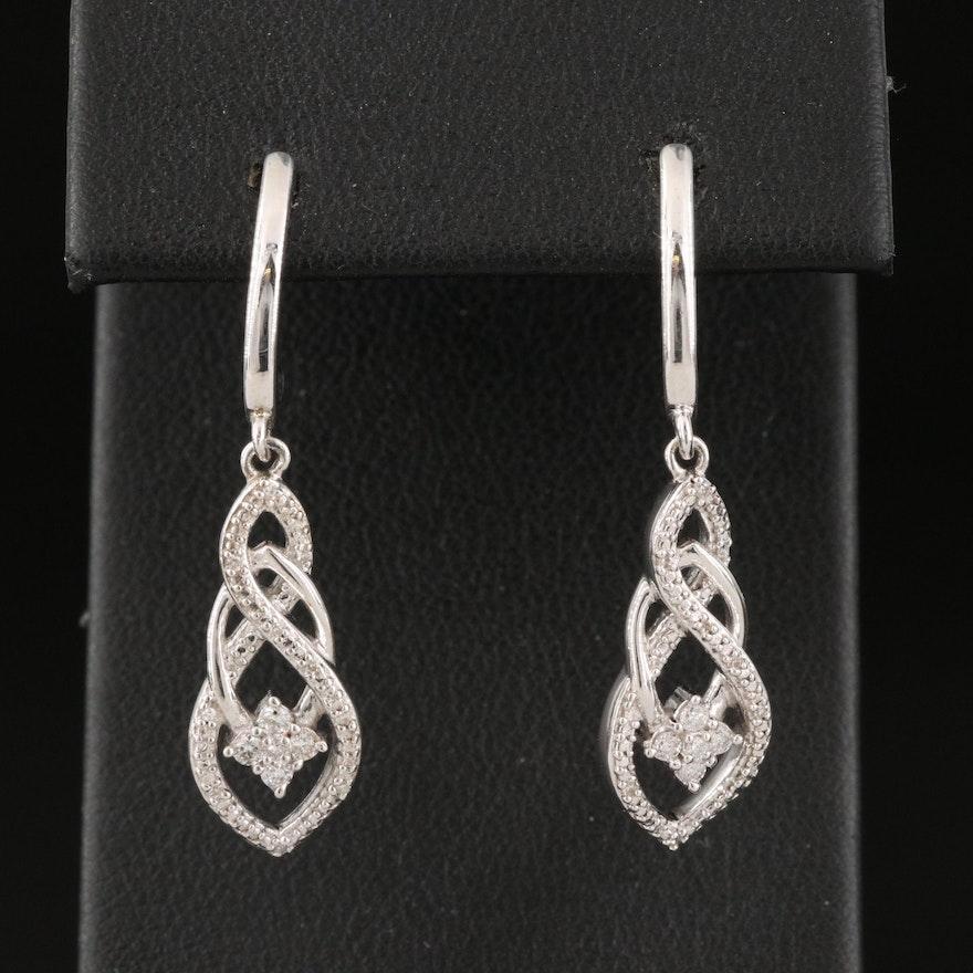 Sterling Silver J Hoop Earrings with Diamond Drops