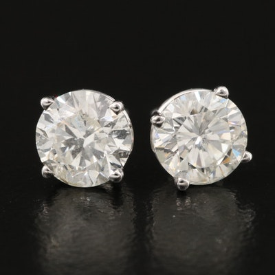 18K 1.95 CTW Diamond Stud Earrings with GIA Diamond Dossier and eReport