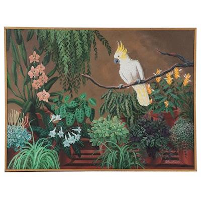 "Dorothea S. Wendlandt Oil Painting ""The Hothouse Cockatoo,"" Circa 2000"
