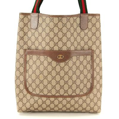 Gucci Accessory Collection Web Tote in GG Supreme Canvas and Leather