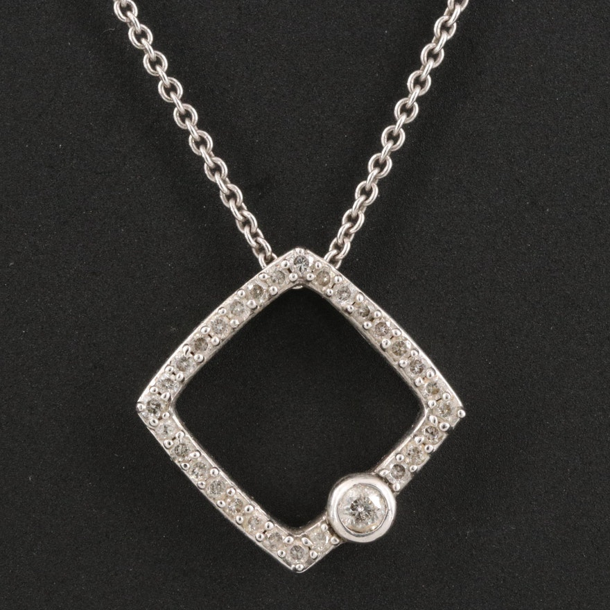 Sterling Silver Diamond Geometric Pendant Necklace