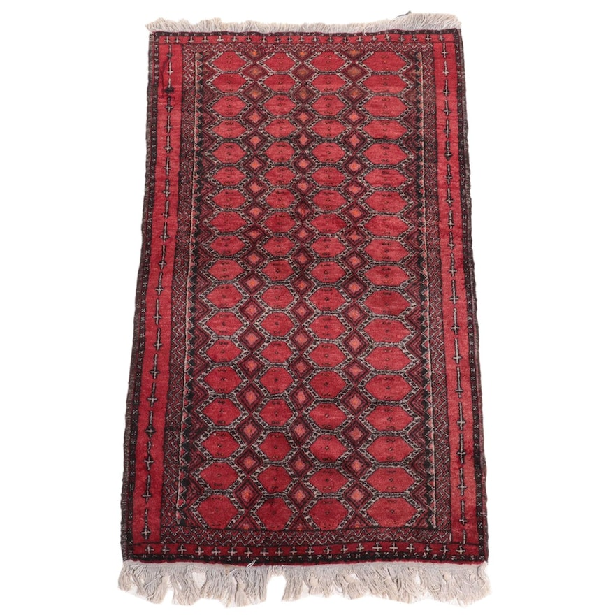 2'7 x 5'2 Hand-Knotted Afghan Baluch Accent Rug