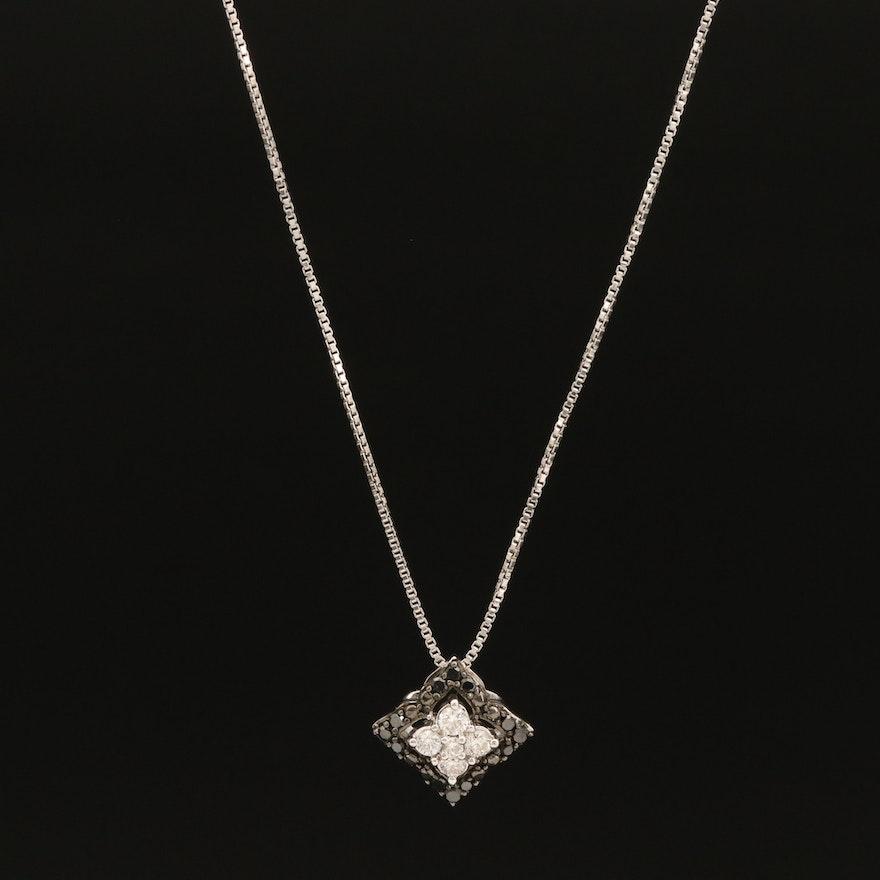 Sterling Diamond Quatrefoil Pendant Necklace