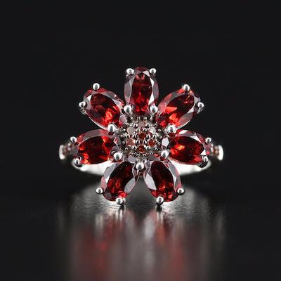 Sterling Garnet and Diamond Flower Ring
