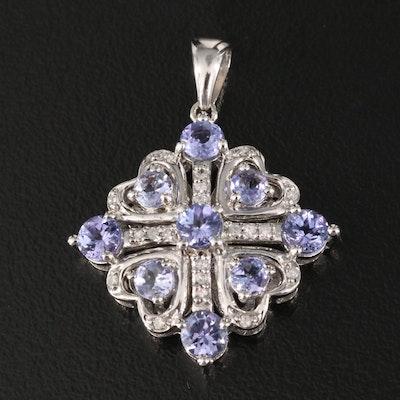 Sterling Tanzanite and Diamond Multi-Heart Pendant