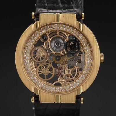 Vintage Piaget Polo Skeleton 18K Gold Diamond Stem Wind Wristwatch