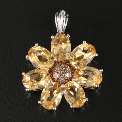 Sterling Citrine and Diamond Floral Pendant