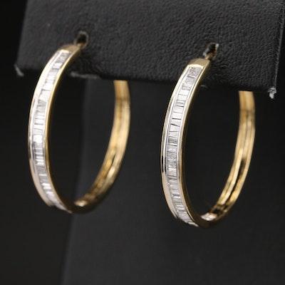 Sterling Diamond Channel Hoop Earrings