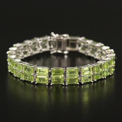 Sterling Peridot Double Row Line Bracelet