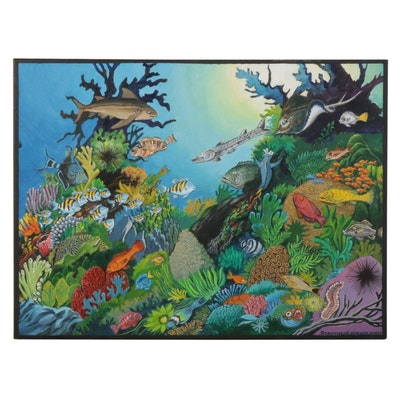 Dorothea S. Wendtlandt Coral Reef Scene Oil Painting, Circa 2000