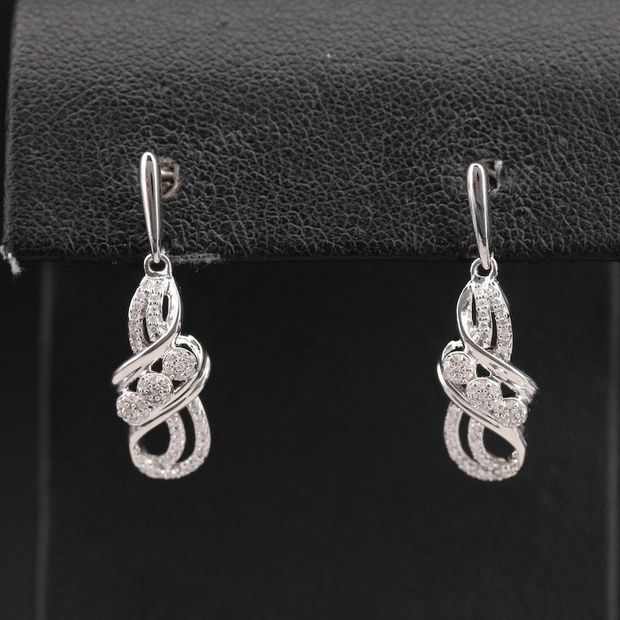 Sterling Diamond Openwork Drop Earrings