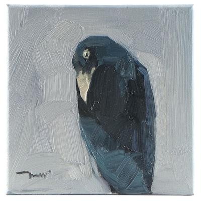 "Jose Trujillo Oil Painting ""A Crow,"" 2021"