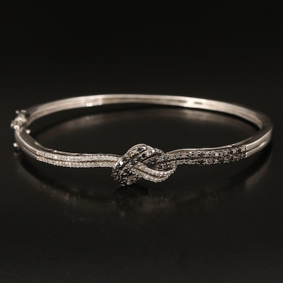 Sterling Diamond Knotted Hinged Bangle