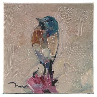 "Jose Trujillo Oil Painting ""Song Bird,"" 2021"