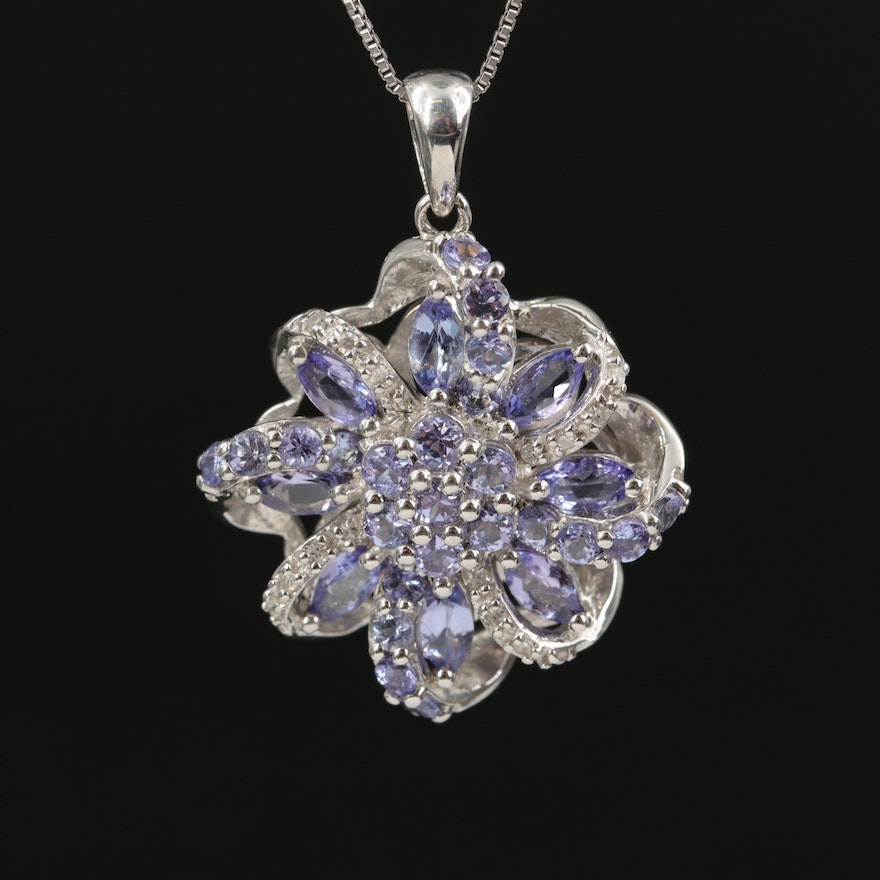 Sterling Silver Tanzanite and Diamond Floral Necklace