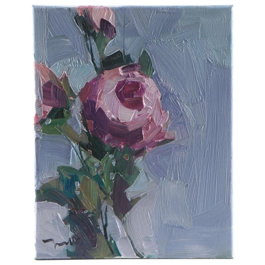 "Jose Trujillo Floral Oil Painting ""Pink Peonies"""