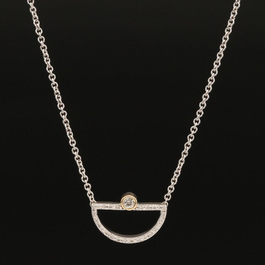 Sterling Bezel Set Diamond Half Circle Pendant Necklace with 10K Accent