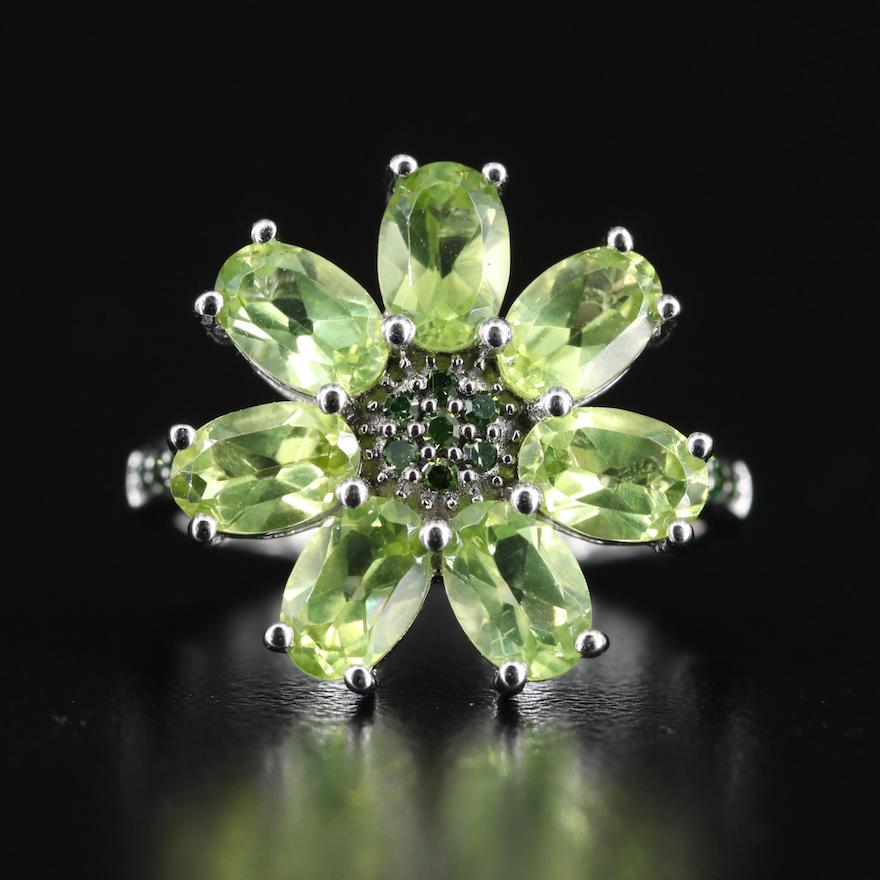 Sterling Peridot and Diamond Flower Ring