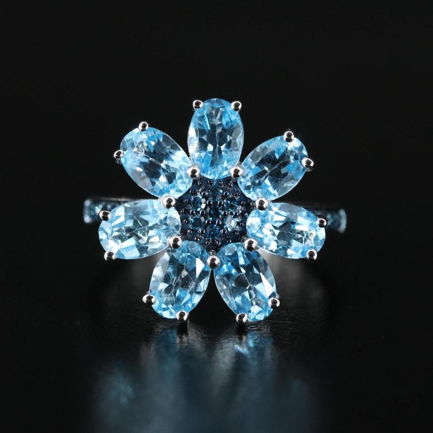Sterling Topaz and Diamond Flower Ring