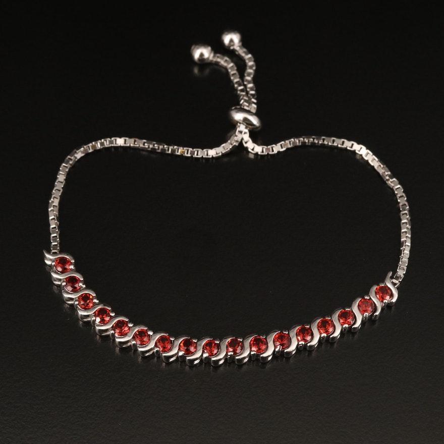 Sterling Garnet Bolo Bracelet