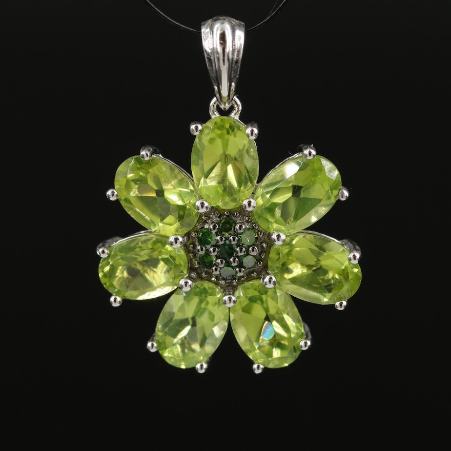Sterling Silver Peridot and Diamond Floral Pendant