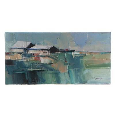 "Jose Trujillo Oil Painting ""Isolated Barn House"""