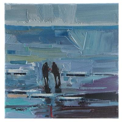 """Jose Trujillo Oil Painting """"Taken by the Tide,"""" 2021"""